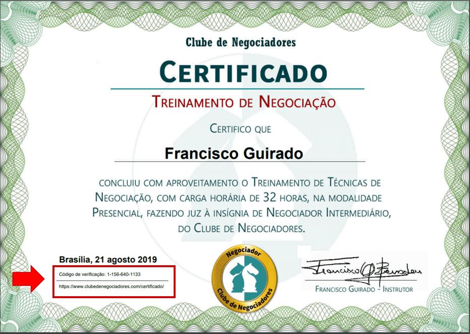 certificados de negociação